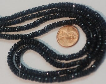 Natural Blue Sapphire Rondelle Faceted 2 strands