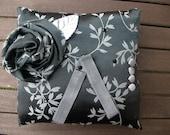 Smoke Gray Floral Ring Pillow