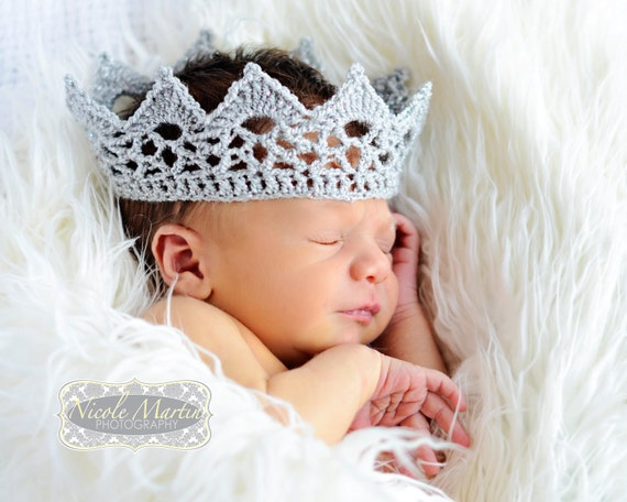 Lace Baby Crown Photo Prop. Crochet Sparkly Silver King or Queen, Prince or Princess Newborn Infant Costume