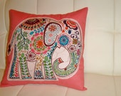 12-inch Elephant Pillow - Coral Pink (Cover Only)