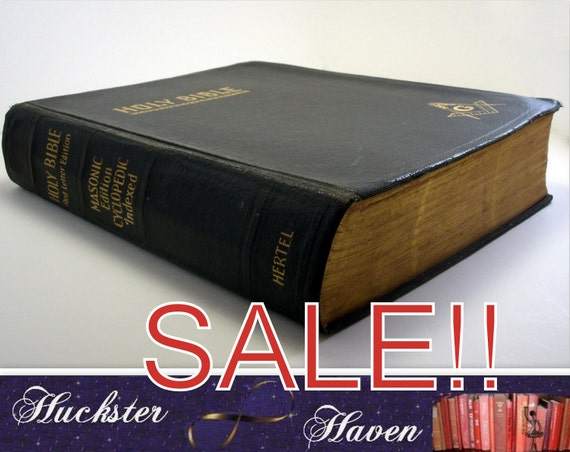 SALE -1951 LEATHER  BIBLE --Oversized Masonic Holy Bible, Red Letter Edition, Vintage Book, Black Bible, Gold Lettering, Illustrated