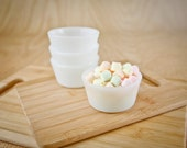 RESERVED, Milk Glass Custard Bowls by Glasbake (set of 4)
