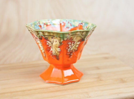 Pedestal Octagon Orange Ceramic Planter, Vase w/ Green, Gold Aqua splatters & Grape Pattern.