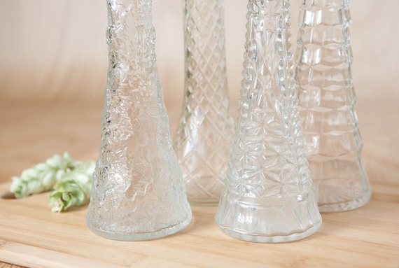 Clear Glass Bud Vases, Tapered w/ scallop, round tops, ribbed sides & diamond pattern (set of 4).