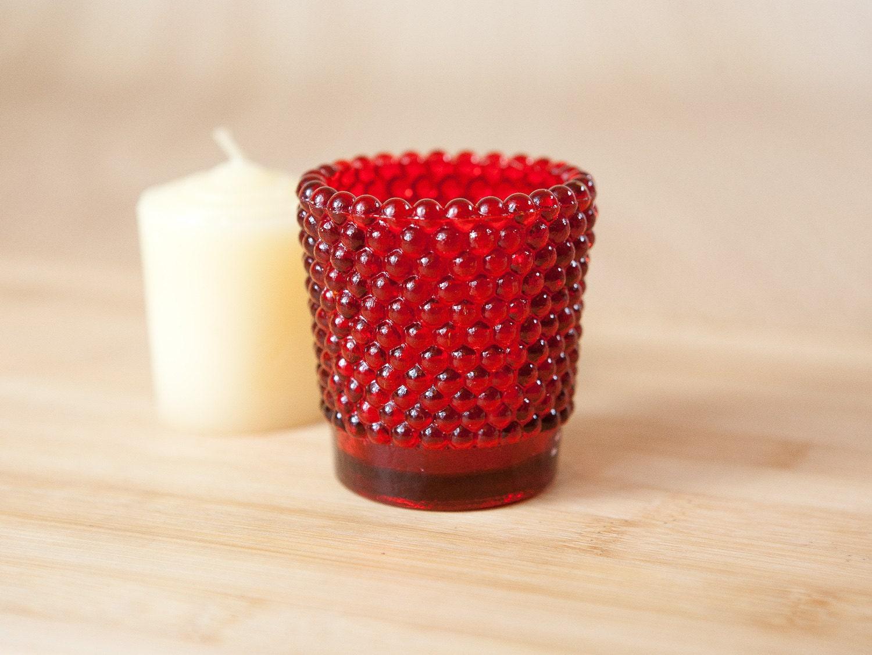 red hobnail glass votive candle holder. Black Bedroom Furniture Sets. Home Design Ideas
