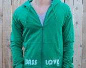 Bass Love print on American Apparel Kelly Green California Fleece Hoodie Small