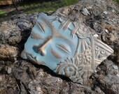 Vintage Patina Brass Goddess Face Pin Back Brooch