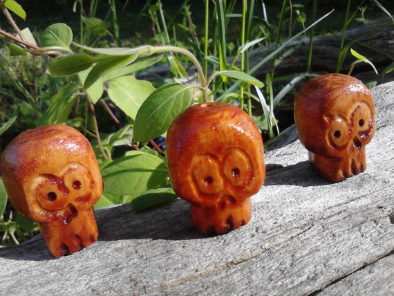 Trio of Crazy Wide Eyed Wooden Skull Beads, Light