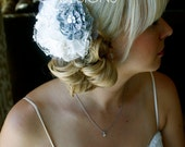 """Silver BRIDAL FASCINATOR -- """"Couture WEDDING Hair Accessory"""""""