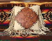 """Western leather pillow 16 X 16 home decor vintage style ivory amber tooled leather """"cowboy boot"""" design rockabilly STARGAZER MERCANTILE"""