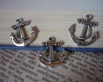 10 pcs Antique Silver Nautical Anchor Rope Charms 23mm (SC314)
