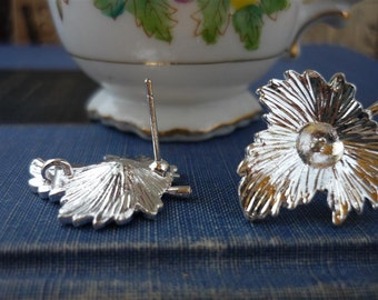 3 Pairs Silver Leaf Earring Posts With Loop and Stoppers (SF551)
