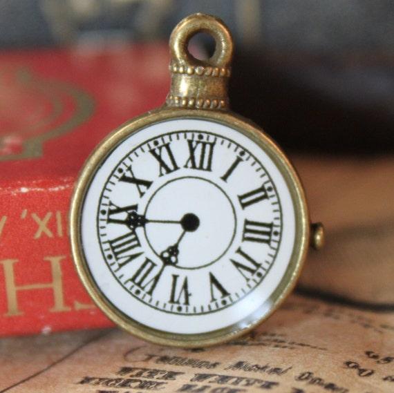 8pcs Bronze Pocket Watch Charms Clock Pendants 23mm (BC213)