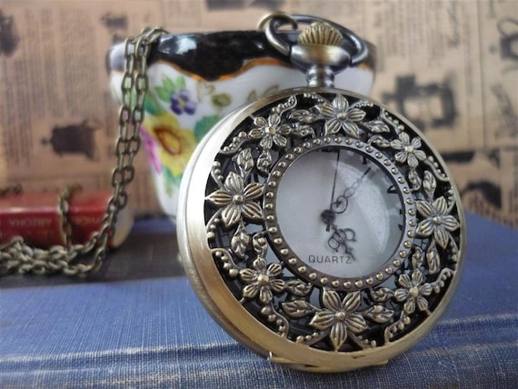 Large Antique Bronze Floral Pocket Watch With Chain- (BC492)