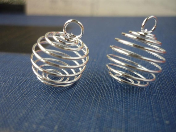 15 pcs Silver Bead Cages Coil Net 14 x 15mm (SMB640)