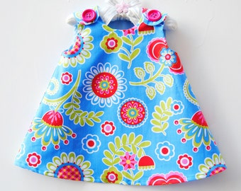 Bouquet De Fleurs Blue - Infant Toddler Girls Dress - Blue Dress - Girls Dress - Girls Clothing - Handmade