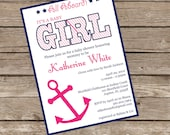 Printable or Printed Nautical GIRL Baby Shower Invitation - Lovely Little Party