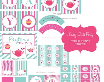 Personalized Printable Tea Party Birthday Package - LOVELY LITTLE PARTY