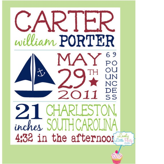 "Customized Birth Announcement Sail Boat Theme Nursery Print - 8""x10"" - LOVELY LITTLE PARTY"