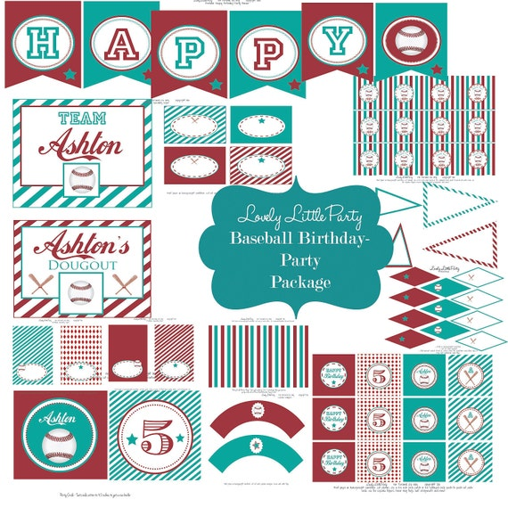 Printable Personalized Baseball  Birthday Package - LOVELY LITTLE PARTY