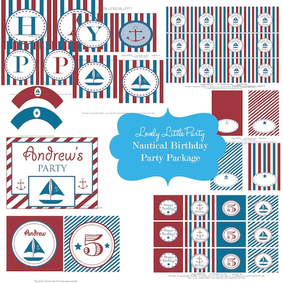 Personalized Printable Nautical Birthday Package - LOVELY LITTLE PARTY