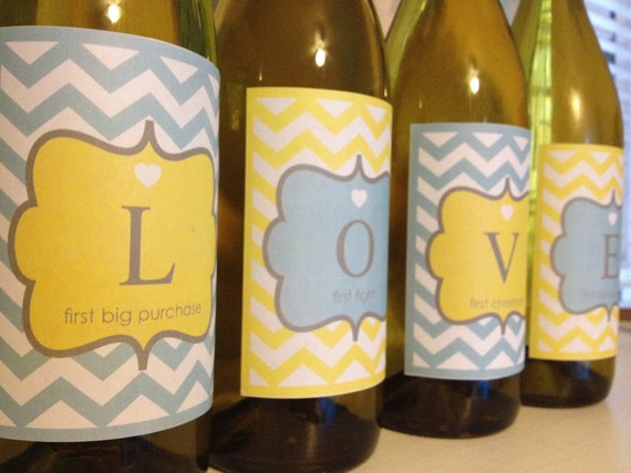 Printable Chevron LOVE WEDDING GIFT Wine Bottle Labels  - Lovely Little Party