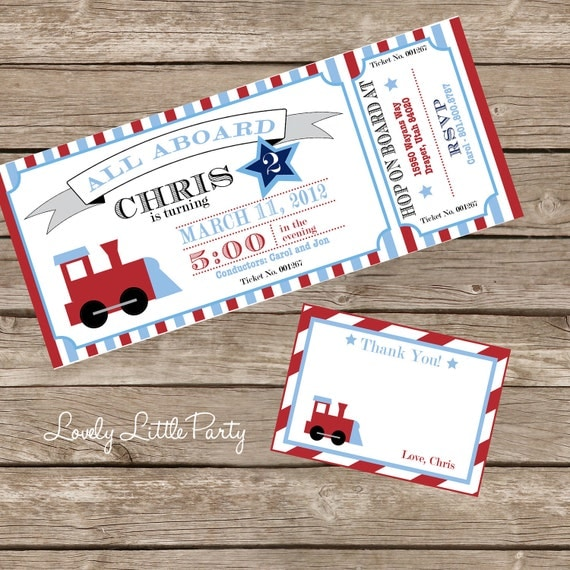 Train Birthday Invitation Kit DIY Printable- Invite AND Thank You Card included