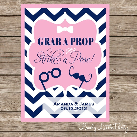 Printable Personalized Chevron PHOTOBOOTH sign  - You Choose Color - Lovely Little Party
