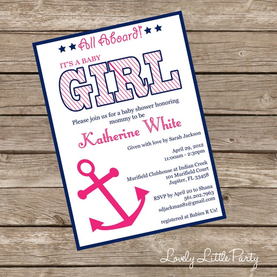 printable or printed nautical girl baby shower invitation lovely