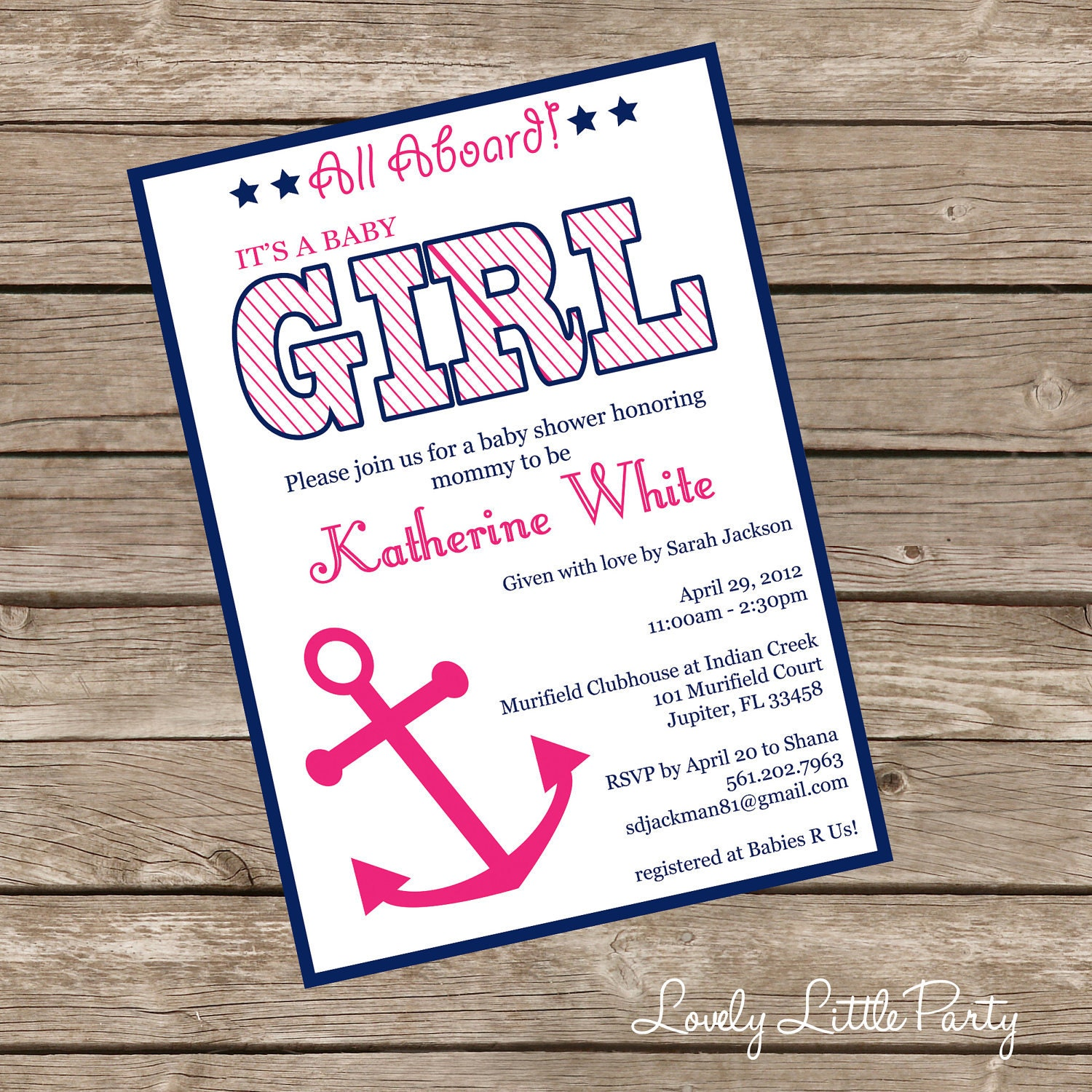 printable or printed nautical girl baby shower invitation
