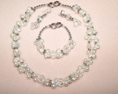 """Necklace, bracelet, Earrings, white and silver. bride - """"Cluster of love"""" Showoff Jewels"""