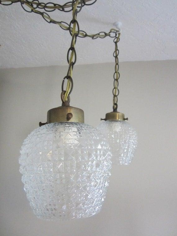sale glass vintage pair hanging swag by elizabethjeanvintage. Black Bedroom Furniture Sets. Home Design Ideas