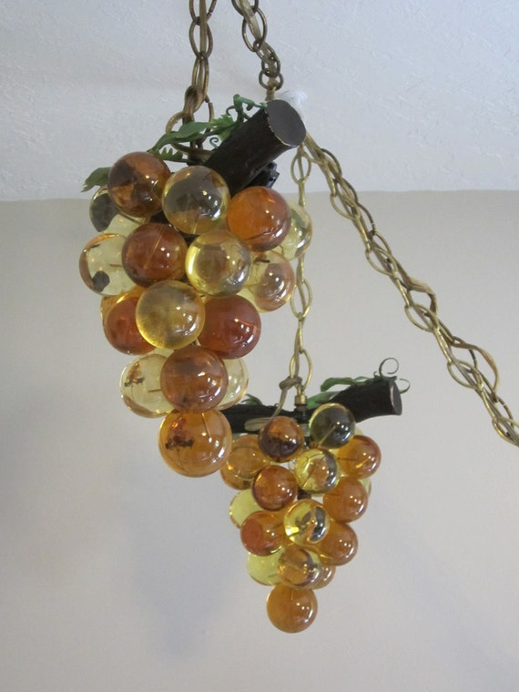 1970 S Vintage Grape Lights Amber Lucite Swag Lights