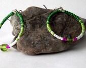 beaded hoop earring handmade with green pink seed beads sensitive ears