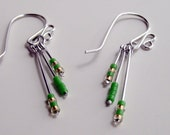 green and gold dangle earrings cute seed beads perfect summer fashion sensitive ear safe