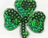 SEQUIN 1 1/2 x 1 1/2 SHAMROCK GREEN Iron On Patch Applique Cedar Creek Patch Co on EtSY
