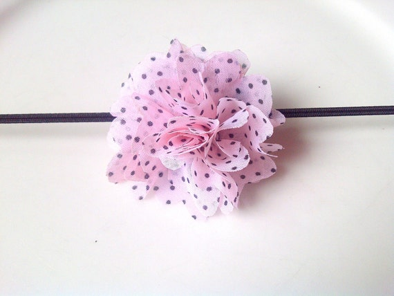 ON SALE Pink Flower Headbands - Newborn Headband - Fluffy Flower Headband - Baby Girl Headband - Girl Hair Accessories