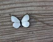 Vintage Aksel Holmsen White Enamel Butterfly Necklace