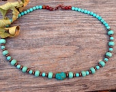 Fall SALE: Turquoise  and Copper Necklace -  Southwestern Turquoise Necklace, Native Inspired Turquoise