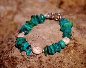 "Green and White Turquoise  Bracelet 8""   Southwestern Bracelet, turquoise bracelet"