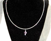 Sale: Amethyst crystal necklace, silver seed bead necklace, amethyst pendant necklace 23""