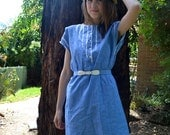 blue and white chambray cotton sailor dress