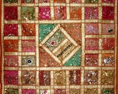 large huge hippie india indian handmade wall hanging tapestry home decor throw embroidered saree patchwork sequin traditional