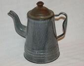 Small gray graniteware gooseneck coffee pot possibly child's toy