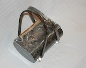 SUMMER SALE.  Vintage Rialto Lucite Purse mottled grey with swivel handles