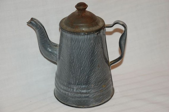 Small gray graniteware gooseneck coffee pot possibly child's toy