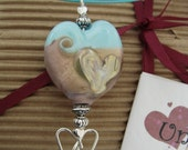 Mother's day dark pink & pale blue heart pendant , necklace, lampwork glass heart pendant handmade