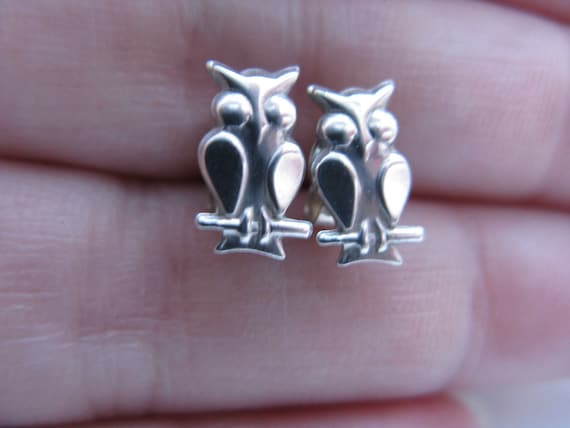 Vintage Silver Owl Earrings
