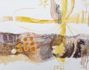 original mix media art on paper Rangoli 13 x 9 inch
