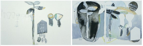 reserved for Mc - Village (original watercolor collage mix media diptych)